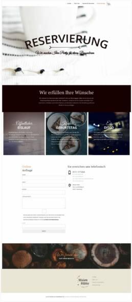 Projekt Maien Hütte Arena Nürnberger Versicherung, Webdesign Würzburg, Gesamtansicht Einzelseite