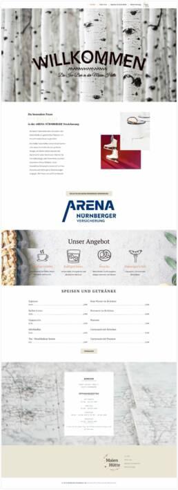 Projekt Maien Hütte Arena Nürnberger Versicherung, Webdesign Würzburg, Gesamtansicht Startseite