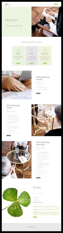 Webdesign, Projekt Glückliche Entscheidung, deine Motivationsberatung, Würzburg, Ansicht Leistungen Seite